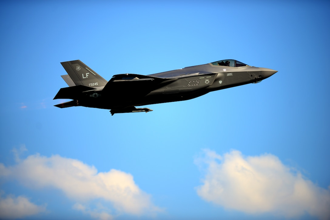 An F-35A Lightning II from the 388th and 419th Fighter Wings, at Hill AFB, Utah, takes off on the first day of Astral Knight 19 at Aviano Air Base, Italy, on June 3, 2019. The F-35's 5th generation abilities is key to air dominance and precision engagement in highly contested environments. (U.S. Air Force photo by Airman 1st Class Caleb House)