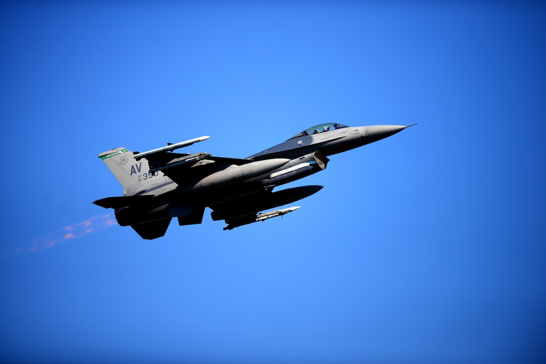 An F-16 Fighting Falcon from the 555th Fighter Squadron takes off on the first day of Astral Knight 19 at Aviano Air Base, Italy, on June 3, 2019. The U.S. and our NATO partners and allies continue to strengthen our deterrence efforts and improve readiness through multinational exercises like AK19. (U.S. Air Force photo by Airman 1st Class Caleb House)