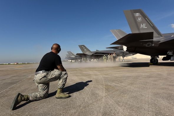 Staff Sgt. Keagan Rosario, 421st Aircraft Maintenance Unit BOLT mission systems technician, performs preflight checks on an F-35A Lightning II fighter jet May 31, 2019, at Aviano Air Base. The F-35A is an agile, versatile, high-performance, 9G capable multirole fighter that combines stealth, sensor fusion and unprecedented situational awareness. Airmen from the 388th and 419th Fighter Wings at Hill Air Force Base, Utah, are in Europe as part of a Theater Security Package. Currently they are participating in Astral Knight 2019, a joint and multinational exercise that involves airmen, soldiers and sailors from the United States and airmen from Croatia, Italy, and Slovenia. The exercise is an integrated air and missile defense exercise focused on conducting integrated defense of key terrain. (U.S. Air Force photo by Tech. Sgt. Jim Araos)