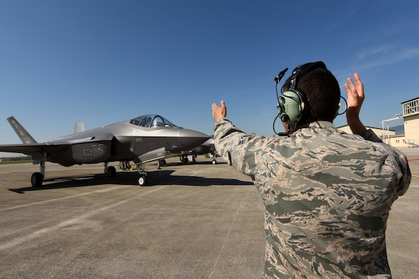 Airman 1st Class Zachary Stiles, 421st Aircraft Maintenance Unit BOLT mission systems technician, taxis an F-35A Lightning II fighter jet May 31, 2019, at Aviano Air Base. Airmen from the 388th and 419th Fighter Wings at Hill Air Force Base, Utah, are in Europe as part of a Theater Security Package. Currently they are participating in Astral Knight 2019, a joint and multinational exercise that involves airmen, soldiers and sailors from the United States and airmen from Croatia, Italy, and Slovenia. The exercise is an integrated air and missile defense exercise focused on conducting integrated defense of key terrain. (U.S. Air Force photo by Tech. Sgt. Jim Araos) (U.S. Air Force photo by Tech. Sgt. Jim Araos)