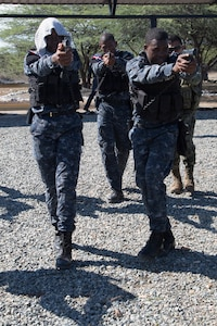 Dominican Republic Naval forces practice dry fire movement exercises during Tradewinds 2019.