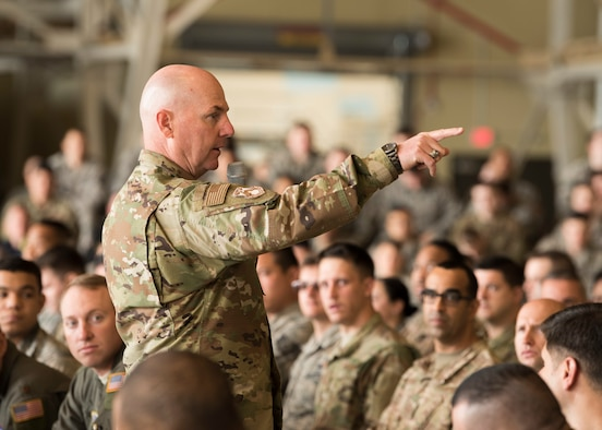 Maj. Gen. Sam Barrett, 18th Air Force commander, speaks to Airmen from the 92nd Air Refueling Wing May 23, 2019, at Fairchild Air Force Base, Washington. In September, Team Fairchild is scheduled to host more than 2,000 Department of Defense personnel and international partners during Air Mobility Command's premiere exercise, Mobility Guardian. The exercise will put participants to the test during realistic combat scenarios to train like they fight: together. (U.S. Air Force photo by Senior Airman Ryan Lackey)