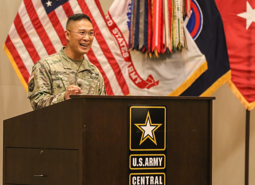 """Col. Roy Banzon, command inspector general for U.S. Army Central, spoke about his heritage and military service as the guest speaker during the annual Asian American Pacific Islander heritage observance at USARCENT's headquarters, Patton Hall, Shaw Air Force Base, S.C., May 15, 2019. Throughout the ceremony, traditional dances from the islands of Hawaii, Tahiti and Tonga were performed. Members of USARCENT also prepared a """"Taste of the Pacific and Asia"""" food sampling for attendees to enjoy and experience."""