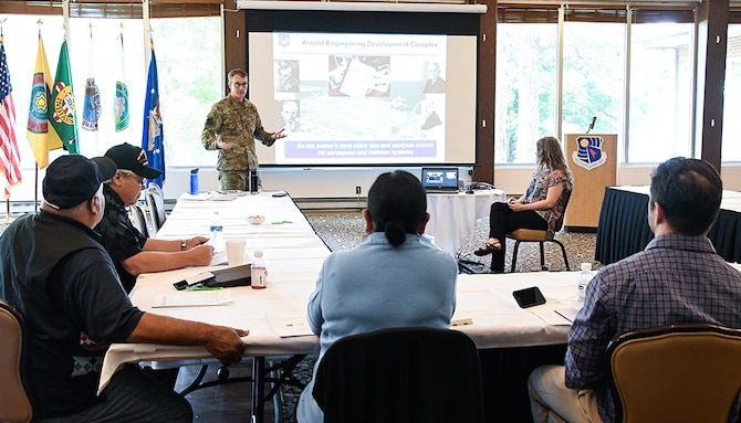 AEDC Commander Col. Scott Cain gives an overview of the complex to tribal historic preservation officers May 21 during a government-to-government Tribal Consultation at Arnold Lakeside Center on Arnold Air Force Base. (U.S. Air Force photo by Jill Pickett)