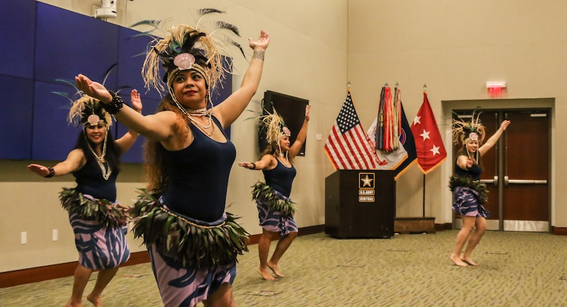 """The """"Island Beauties"""", a local Polynesian dance group, performed traditional dances for members of U.S. Army Central during the annual Asian American Pacific Islander heritage observance at USARCENT's headquarters, Patton Hall, Shaw Air Force Base, S.C., May 15, 2019. Members of USARCENT also prepared a """"Taste of the Pacific and Asia"""" food sampling for attendees to enjoy and experience."""