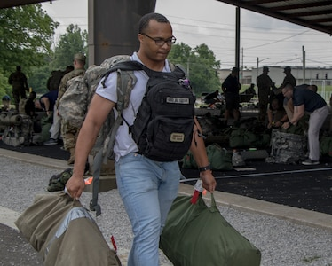 Cadets with 3rd Regiment Advanced Camp, Cadet Summer Training, Cadet Command, take their items to their platoon once their items have been checked. Advanced Camp is a 31-day training event at Fort Knox, Ky., that is designed to assess a Cadet's ability to demonstrate proficiency in basic officer leadership tasks.