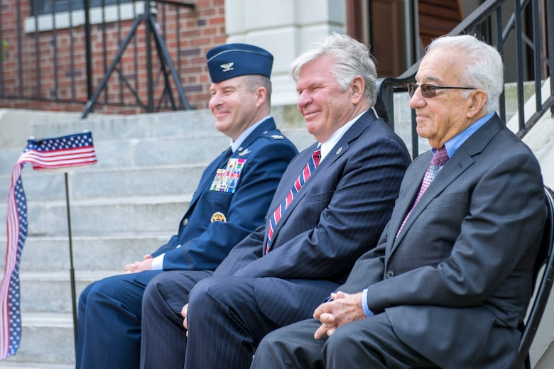 Members of the Air Combat Command Directorate of Cyberspace and Information Dominance, rededicated the Major General John P. Hyde building with his widow, Elizabeth Hyde, during a ceremony May 23, 2019 at Joint Base Langley-Eustis, Virginia.