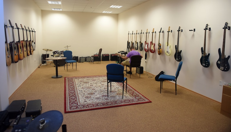 Guitars and other instruments are situated in the Incirlik Community Center music room May 30, 2019, at Incirlik Air Base, Turkey. These instruments are available for Airmen to use for free during their time at Incirlik. (U.S. Air Force photo by Staff Sgt. Trevor Rhynes)