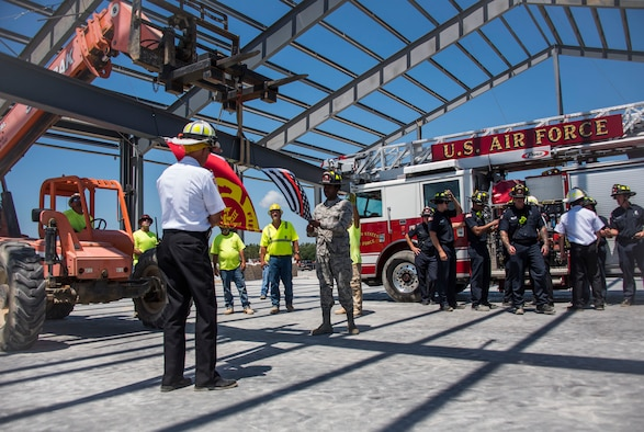 Eglin Fire Department holds a 'topping out' ceremony on the construction site of the installation's new fire station.