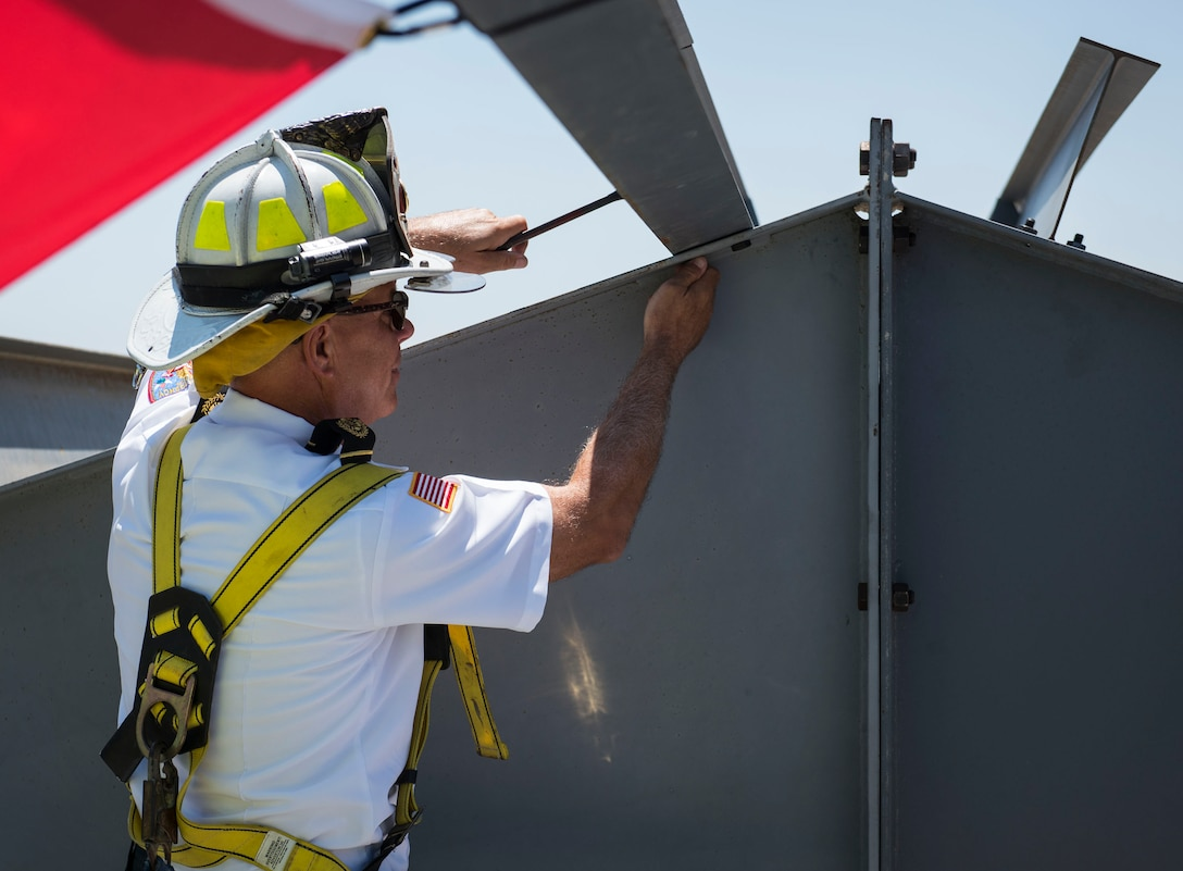 Eglin Fire Department holds a 'topping out' ceremony on the construction site of the installations new fire station.