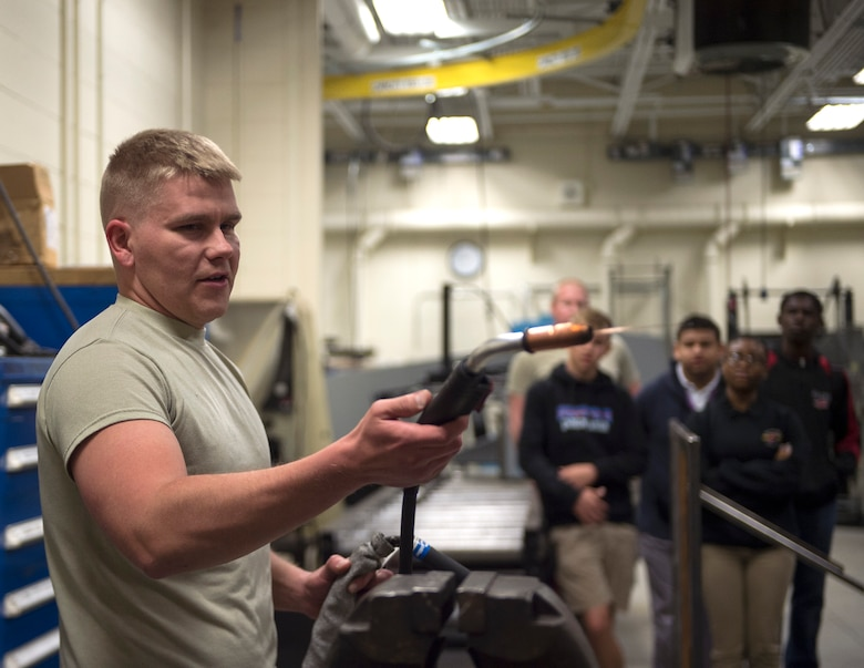 Members from five different Junior Reserve Officer Training Corp (JROTC) units visit the 133rd Airlift Wing on May 15, 2019.