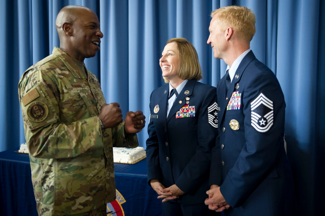 Chief Master Sergeant of the Air Force Kaleth O. Wright, left, congratulates Chief Master Sgts. Melanie K. Noel, Air Force District of Washington command chief, and Michael D. Noel, Senior Enlisted Advisor to the Assistant to the Secretary of Defense for Public Affairs, after their combined retirement ceremony at Joint Base Anacostia-Bolling, Washington, D.C., May 31, 2019. (U.S. Air Force photo by Master Sgt. Michael B. Keller)