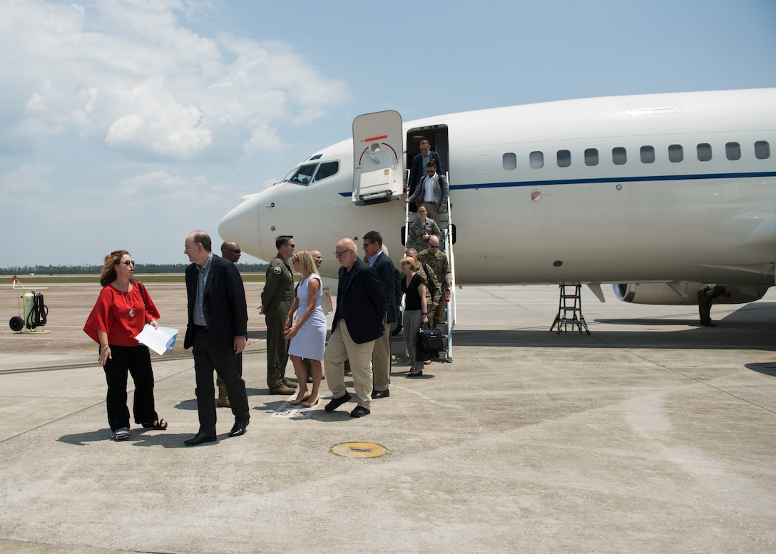 Honorable Matthew P. Donovan, acting Secretary of the Air Force, and his team arrive at Tyndall Air Force Base, Florida, June 2, 2019.