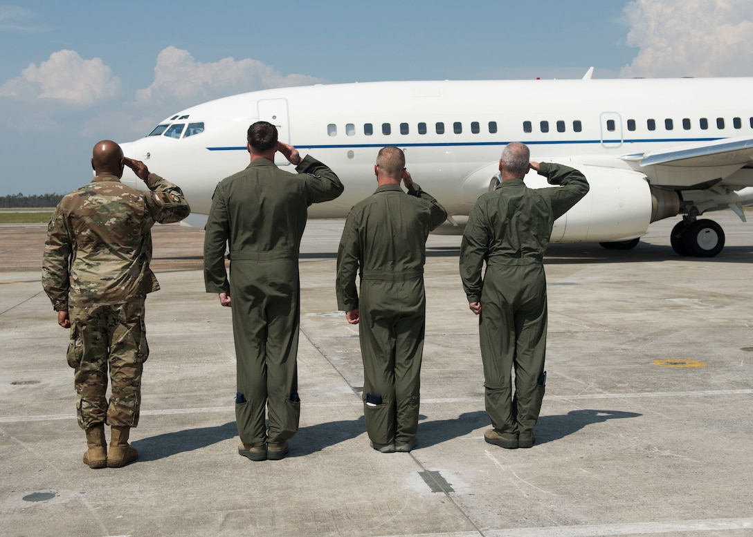 Base leadership salutes the distinguished visitors' departing aircraft June 2, 2019, at Tyndall Air Force Base, Florida.