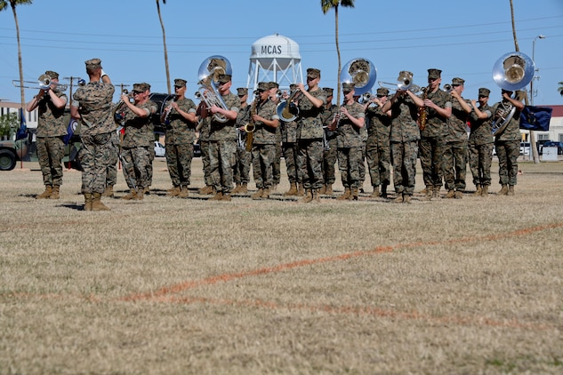 U.S. Marines assigned to the Third Marine Aircraft Wing Band performs during the Marine Air Control Squadron 1 Relief and Appointment Ceremony at Marine Corps Air Station Yuma, Ariz., March. 13, 2019.The Relief and Appointment ceremony is an honored product of the rich heritage of Naval tradition. The heart of the ceremony is the passing of the organizational Non-commissioned officer (NCO) Sword by the Activity Commander from the outgoing Sergeant Major to the new Sergeant Major, which signifies the transfer of responsibility, accountability and authority, from one individual to another. U.S. Marine Corps photo by Lance Cpl. Joel Soriano)