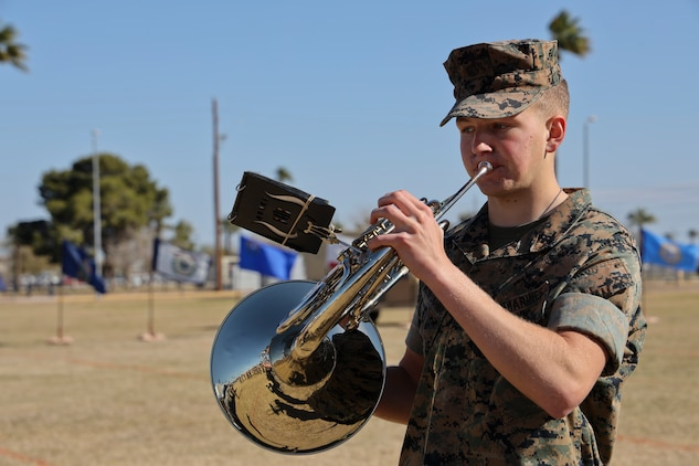 A U.S. Marine assigned to the Third Marine Aircraft Wing Band plays his instrument before the Marine Air Control Squadron 1 Relief and Appointment Ceremony at Marine Corps Air Station Yuma, Ariz., March. 13, 2019.The Relief and Appointment ceremony is an honored product of the rich heritage of Naval tradition. The heart of the ceremony is the passing of the organizational NCO Sword by the Activity Commander from the outgoing Sergeant Major to the new Sergeant Major, which signifies the transfer of responsibility, accountability and authority, from one individual to another. U.S. Marine Corps photo by Lance Cpl. Joel Soriano)