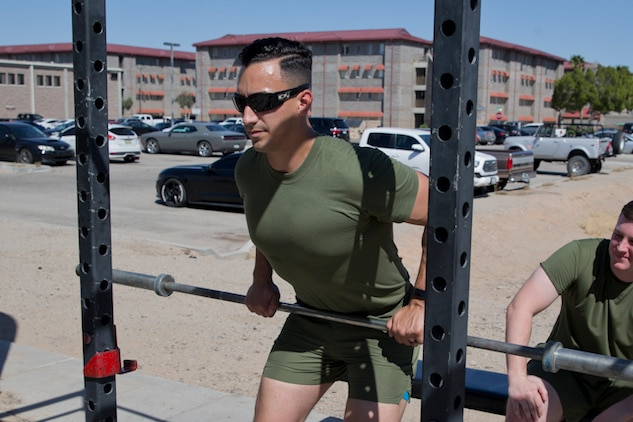 U.S. Marines Stationed at Marine Corps Air Station (MCAS) Yuma go through a High Intensity Tactical Training (HITT) Course at MCAS Yuma, Ariz., March 19, 2019. The purpose of the HITT Course is to give the Marines the tools they need to bring high intensity workouts and proper fundamentals  back to their units. (U.S. Marine Corps photo by Lance Cpl. Joel Soriano)