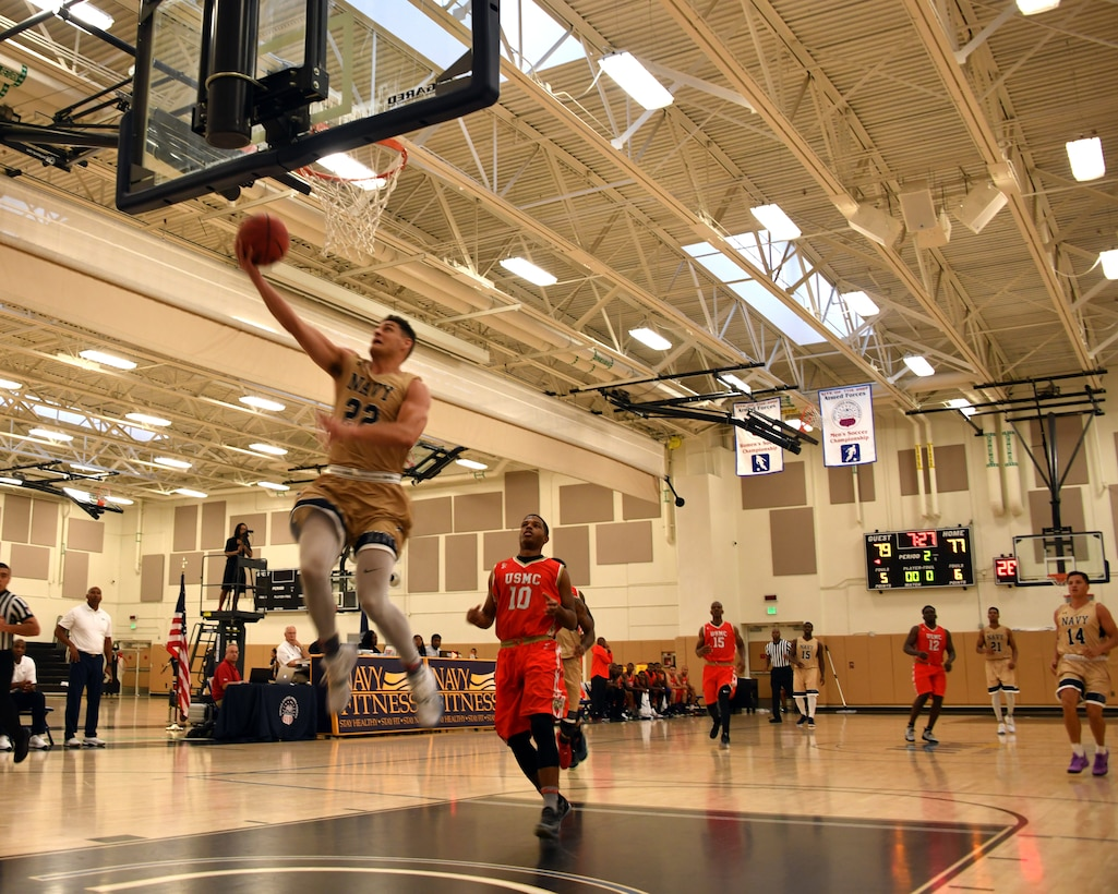 Elite U.S. military basketball players from around the world compete for dominance at Naval Station Mayport during the 2019 Armed Forces Men's and Women's Basketball Championship. Army, Marine Corps, Navy (with Coast Guard) and Air Force teams square off at the annual event which features double round-robin action, followed by championship and consolation games to crown the best players in the military. (U.S. Navy photo by Mass Communication Specialist 1st Class Gulianna Dunn/RELEASED)