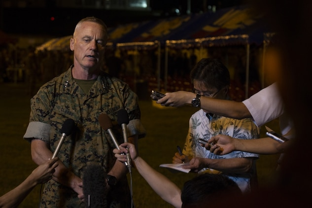 Lt. Gen. H. Stacy Clardy, III, answers questions during a press conference following the III Marine Expeditionary Force change of command ceremony at Camp Courtney, Okinawa, Japan, May 31, 2019.
