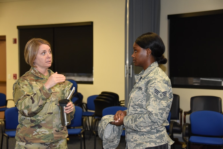 Chief Master Sgt. Rachel Landegent imparts knowledge and direction in a newcomer unit member at the 161st Air Refueling Wing, June 2, 2019. Landegent has a goal of being an instructor in the future, utilizing her skill as an effective communicator and mentor.