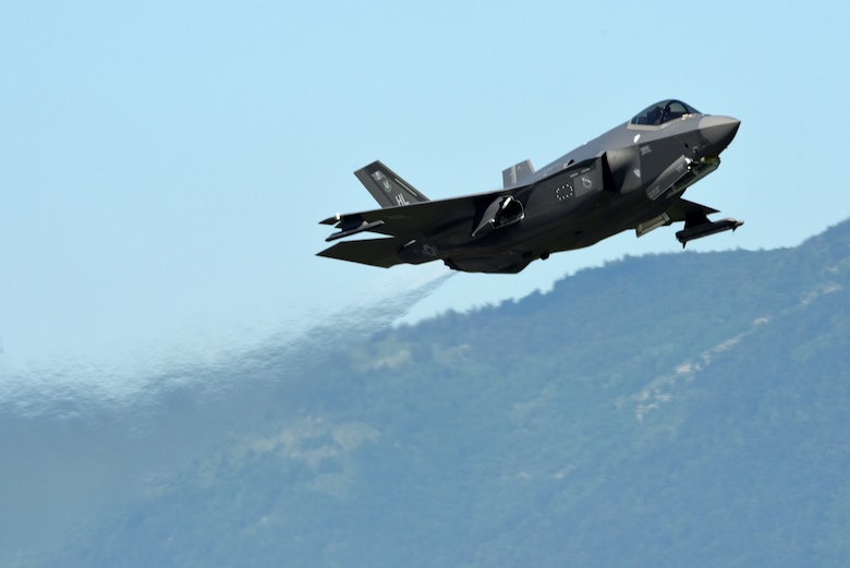 An F-35A Lightning II fighter jet from the 388th Fighter Wing at Hill Air Force Base, Utah, takes off May 31, 2019, at Aviano Air Base, Italy. Air Force Reserve Command officials are currently evaluating four possible locations for future basing of the F-35A. (U.S. Air Force photo by Tech. Sgt. Jim Araos)