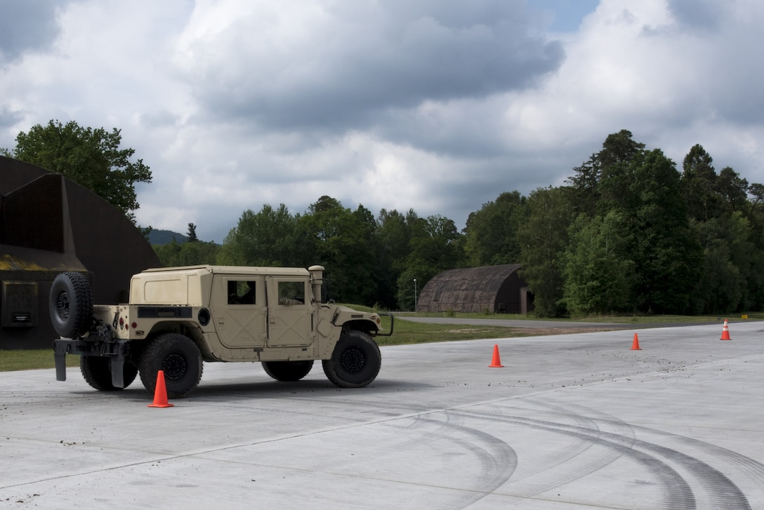 Students of the Landing Zone Safety Officer course practice driving a humvee on Ramstein Air Base, Germany, May 23, 2019. This training allows them to be more versatile down range. (U.S. Air Force Photo by Airman 1st Class Kaylea Berry)