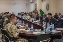 Members of the Combined Joint Task Force-Operation Inherent Resolve (CJTF-OIR) meet with ambassadors of the coaltion's nations at Union 3, Iraq, June 4 2019. The ambassadors met with the CJTF Commanding General and the key staff of CJTF responsible for the conduct of military operations in Iraq and Syria to discuss topics of interest such as continuing to support ISF partners as these increasingly capable forces lead the way in pursuit of the lasting defeat of Daesh. (U.S Army Photo by Spc. Adrian Pacheco)