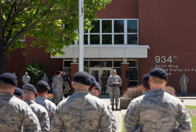 Defenders from the 133rd and 934th Security Forces Squadrons patriciate in the second annual Police Week Ceremony in Minneapolis, Minn., May 15, 2019.