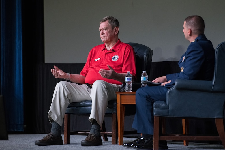 Retired Chief Master Sgt. Don A. Beasley speaks with Air Command and Staff College students, May 29, 2019, during the 38th annual Gathering of Eagles at Maxwell Air Force Base, Alabama. Beasley was selected as an Eagle for his innovative contributions to the pararescue community while developing and executing some of the most daring rescues in history, specifically Desert One.