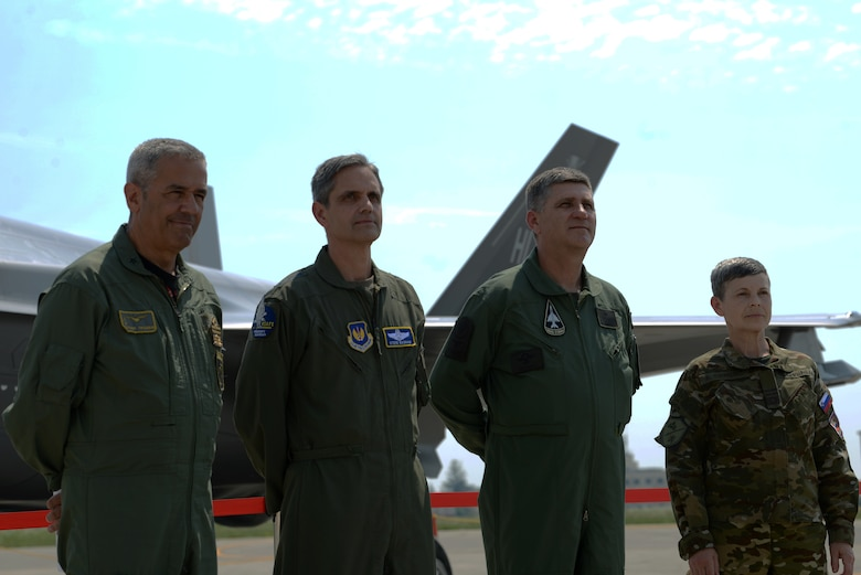 Senior Leaders, Italian Air Force Maj. Gen. Silvano Frigerio, Combat Force Command commander, U.S. Air Force Lt. Gen. Steven Basham, U.S Air Forces Europe and Air Forces Africa deputy commander, Brig. Gen. Mato Mikic, Croatian Air Force commander, and Maj. Gen. Alenka Ermenc, Slovenia Air Force chief of the general staff, visited Aviano Air Base, Italy as part of Astral Knight 2019, June 4. The Senior Leaders visited Aviano as part of the first U.S. Air Forces in Europe-sponsored integrated air and missile defense exercise taking place at various locations in Italy, Croatia and Slovenia. (U.S. Air Force photo by Airman 1st Class Ericka A. Dechane).