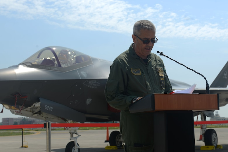 Italian Air Force Maj. Gen. Silvano Frigerio, Combat Force Command commander spoke at Aviano Air Base, Italy, June 4, 2019. While visiting, Frigerio discussed key topics, such as the vital role that partnership in multinational exercises enhances our professional relationships and improves overall coordination with allies and partner militaries during times of crisis. (U.S. Air Force photo by Airman 1st Class Ericka A. Dechane).