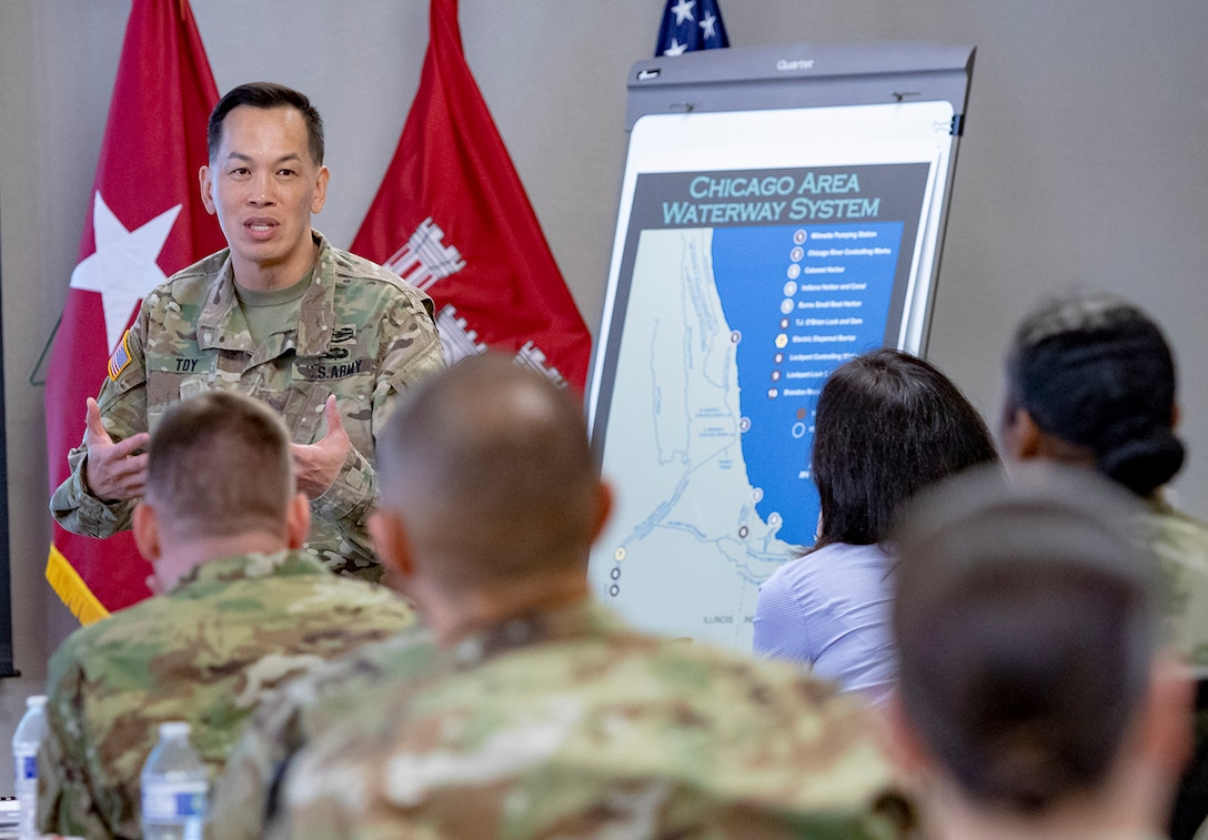 Maj. Gen. Mark Toy, commanding general of USACE Great Lakes & Ohio River Division, gives opening remarks, May 22, 2019.