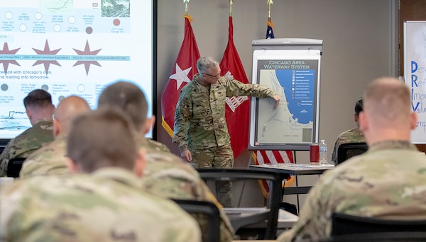 Col. Aaron Reisinger, commander of USACE Chicago District, gives opening remarks, May 22, 2019.