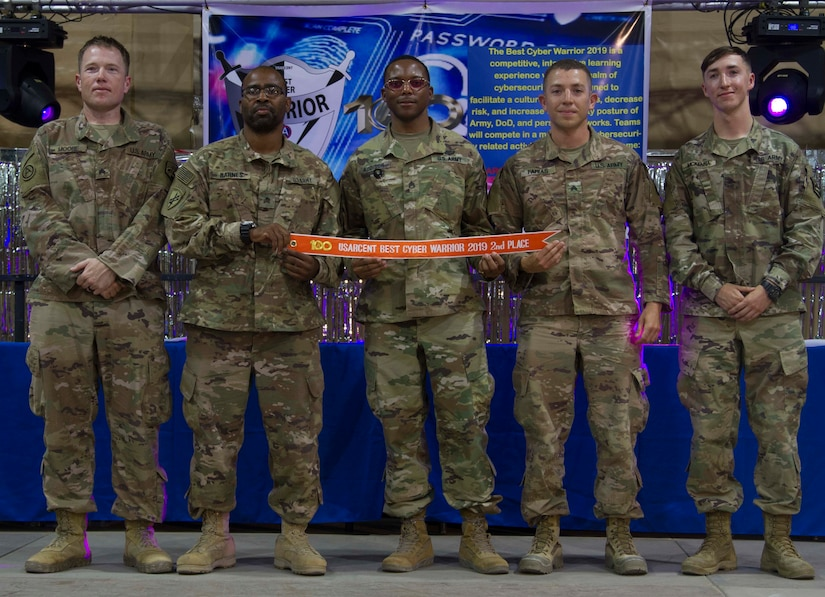 Soldiers from Regional Cyber Center Southwest Asia (RCC-SWA) pose for a photo after finishing second overall at the 2019 Best Cyber Warrior Competition at Camp Arifjan, Kuwait, May 16, 2019. The Best Cyber Warrior Competition is an annual event designed to increase the culture of cybersecurity awareness and understanding at all echelons, reduce risk, and protect Army, Department of Defense, and personal networks through hosting an interactive learning experience in both a fun and competitive environment.