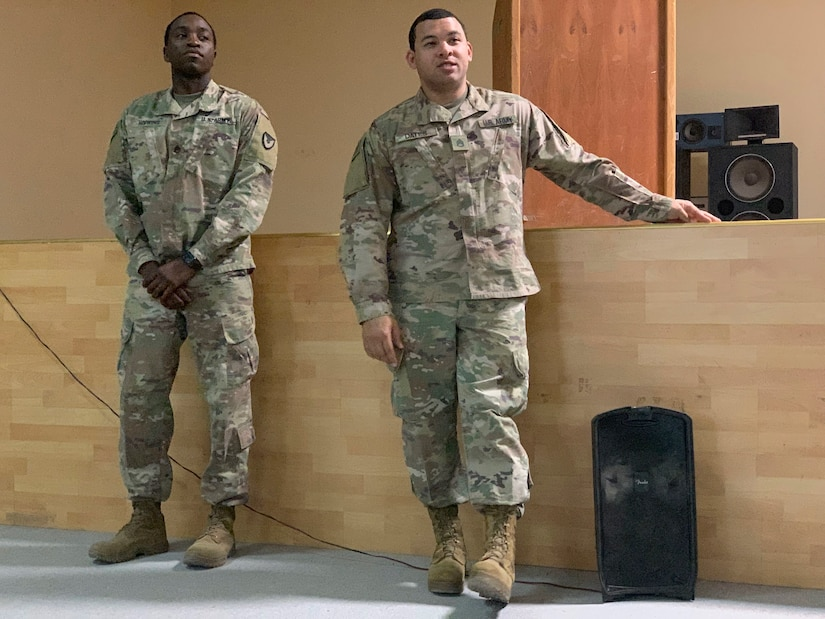 Army Staff Sgt. Marvin Hopkins, left, and Staff Sgt. Antonio Dates, both combat trafficking in persons noncommissioned officers assigned to the Regional Contracting Center - Kuwait, 408th Contracting Support Brigade, lead the question and answer session near the end of the third annual Combating Trafficking in Persons forum at Camp Arifjan, Kuwait, May 16, 2019. The brigade provides operational contracting support to U.S. Army Central (USARCENT) by preparing and coordinating support plans, providing oversight, assessment, policy and acquisition authority to assigned contingency contracting organizations and contract assets. These types of forums show that USARCENT builds cohesion and assures allies and partners of its shared vision and unity of purpose of stability in its areas of operations.