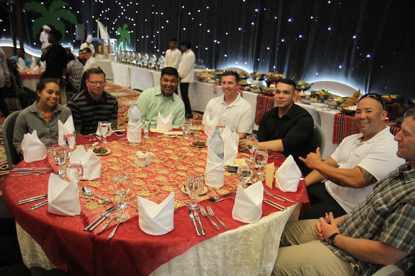 Soldiers from Area Support Group-Qatar gathered in Doha, Qatar, to celebrate iftar, the traditional Ramadan breaking of the daily fast meal. Soldiers and other service members as well as Families were invited by the Qatari armed forces International Military Cooperation Authority to attend the meal to celebrate the cooperation between the two nations.