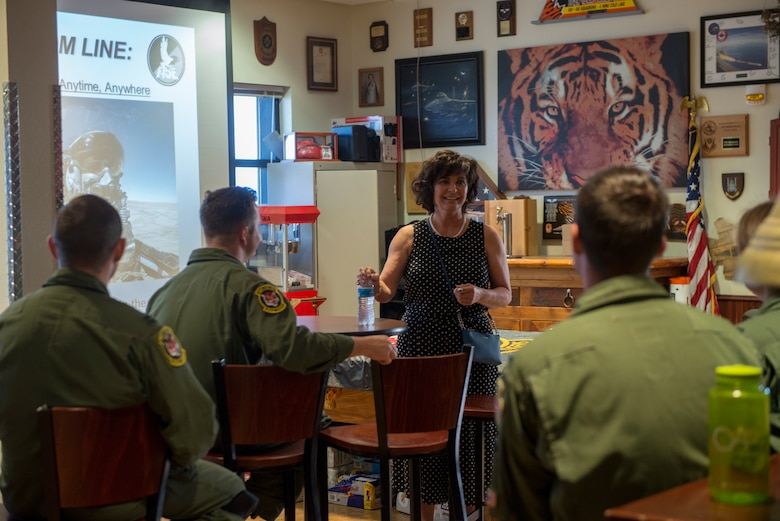 """Janine Sijan-Rozina, Capt. Lance P. Sijan's sister, meets with 391st Fighter Squadron Aircrew May 30, 2019 at Mountain Home Air Force Base, Idaho. Sijan-Rozina visited several locations on base during the two-day MHAFB premiere of the documentary """"SIJAN"""" and spoke to next-generation Gunfighters about her brother's story. (U.S Air Force photo by Airman 1st Class JaNae Capuno)"""