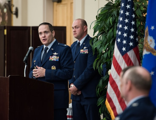Col. Jeffrey Gomes speaks to attendees during the 624th Operations Center change of command ceremony at Joint Base San Antonio-Lackland, Texas, on May 28, 2019. Gomes took command of the 624th OC during the ceremony. (U.S. Air Force photo by Sarayuth Pinthong)