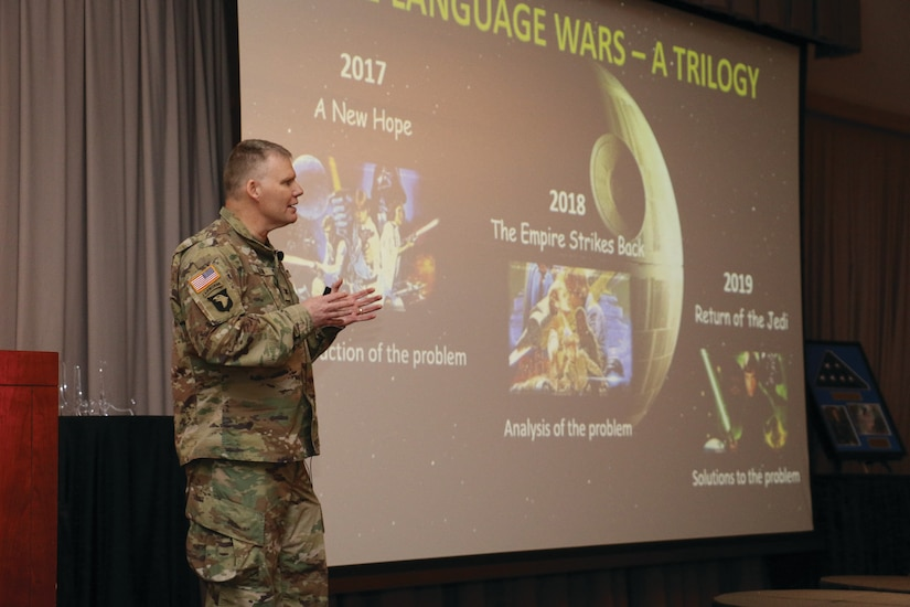Col. Joseph Green uses Star Wars as an analogy to describe the emerging era of the strategic linguist during the 2019 Military Intelligence Language Conference March 2, 2019.