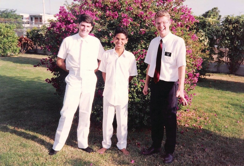 Elder Joseph Green, right, while serving as a missionary for the Church of Jesus Christ of Latter-day Saints in the Dominican Republic in 1989 where his companion was shot and he had to find medical help.