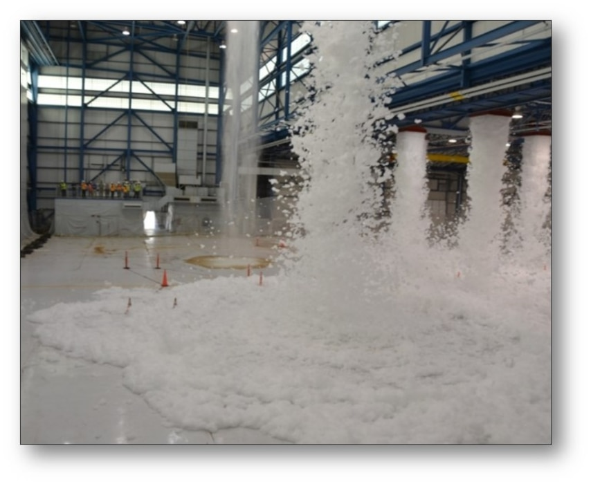 Middle East District fire protection engineers test foam extinguishing systems at air craft hangar sites  throughout the world, including most recently Honduras, Alaska, India, Korea, Germany and the Bahamas, from Maine to Hawaii.