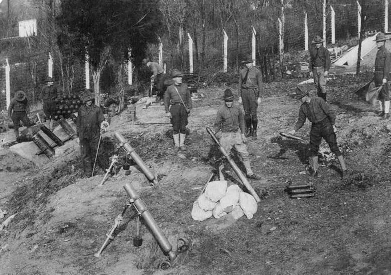 Soldiers train at the American University Experiment Station during World War I. The American University Experiment Station was closed after World War I and its historic boundaries are included within the Spring Valley Formerly Used Defense Site where the U.S. Army Corps of Engineers is carrying out cleanup efforts to remove potential hazards that may remain stemming from past military activity.