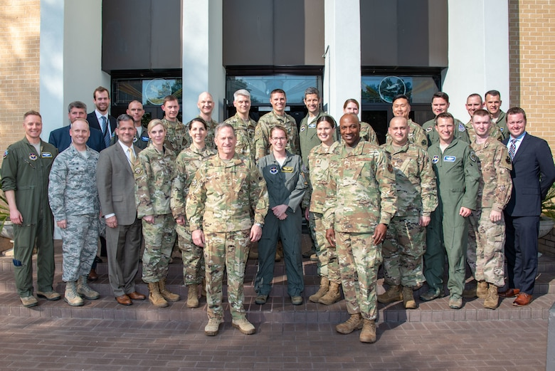 Air Force Chief of Staff Gen. David L. Goldfein and Chief Master Sergeant of the Air Force Kaleth O. Wright pose with graduates of the Center for Strategy ad Technology's Blue Horizons class at Air War College, May 16, 2019.  (U.S. Air Force photo/Melanie Rodgers Cox)