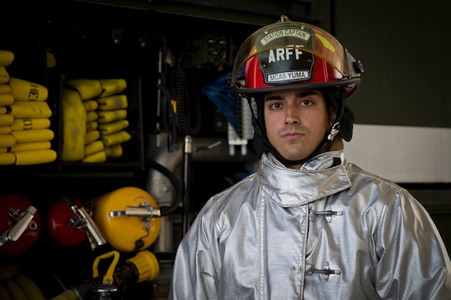 U.S. Marine Corps Sgt. Jose Toledo, an Aircraft Rescue and Firefighting Specialist with Headquarters & Headquarters Squadron, poses for a photograph at Marine Corps Air Station Yuma Ariz., March 27, 2019. Sgt. Toledo is the 2018 Marine Corps Military Firefighter of the Year. (U.S. Marine Corps photo by Lance Cpl. Joel Soriano)