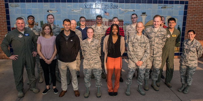 The 932nd Airlift Wing leadership welcomed incoming Air Force Reserve Command Airmen to the Wing during a newcomers briefing at Scott Air Force Base, Illinois, June 1, 2019. All new Citizen Airmen go through newcomers orientation to learn about the wing and the different opportunities and assistance the unit and Air Force Reserve provides. (U.S. Air Force photo by Master Sgt. Christopher Parr)