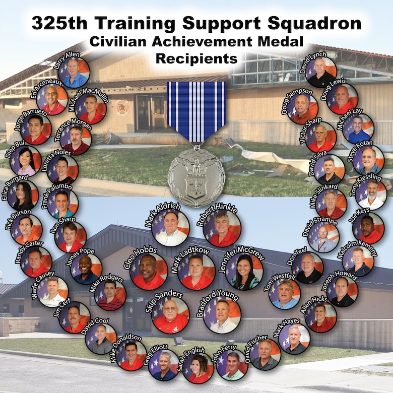 Forty-six civilian employees from the 325th Training Support Squadron received Civilian Achievement medals after Hurricane Michael hit Tyndall Air Force Base, Florida, in October of 2018.