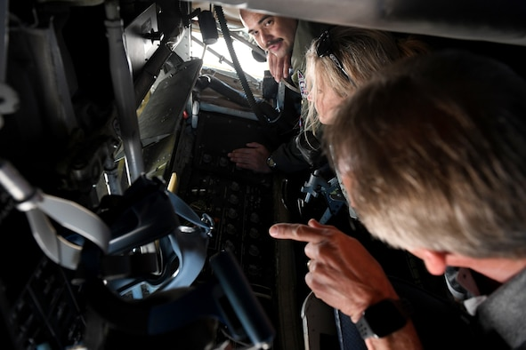 Tech. Sgt. Ezekiel Brito, 54th Air Refueling Squadron boom operator, shows honorary commanders the boom pod on the KC-135 Stratotanker, May 31, 2019, at Altus Air Force Base, Okla. The honorary commanders were given the opportunity to visit all three major weapons systems at the base during the Honorary Commanders Boot Camp. (U.S. Air Force Photo by Senior Airman Jackson N. Haddon)