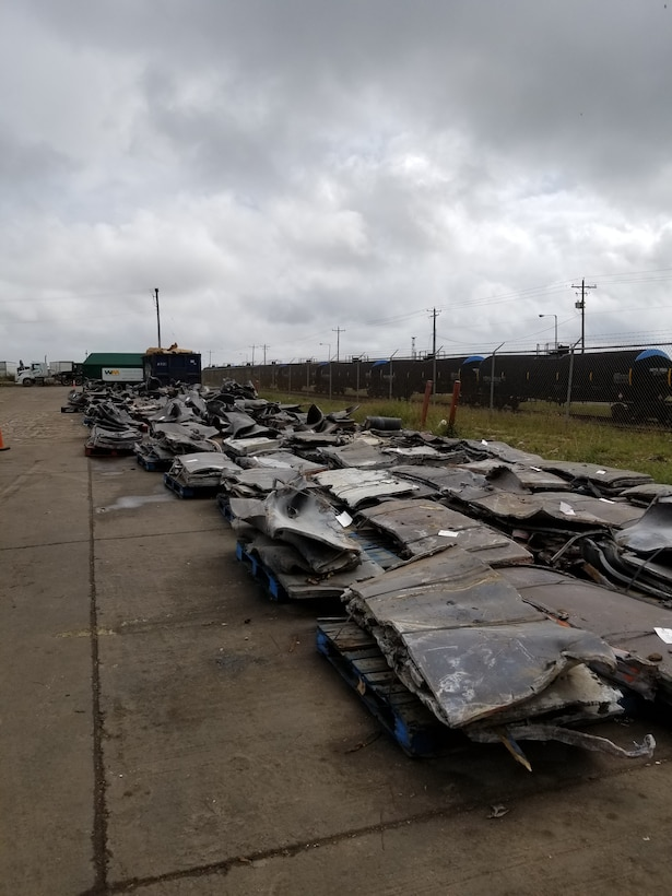 Sectioned pieces of steel from the STURGIS vessel are seen stacked and prepared for recycling February 26, 2019 during the vessel's shipbreaking in Brownsville, Texas. The U.S. Army Corps of Engineers, Baltimore District managed the final decommissioning and dismantling of the STURGIS, the Army's former floating nuclear power plant, and in addition to safely removing more than 1.5 million pounds of radioactive material the project team was able to recycle approximately 600,000 pounds of lead and more than 5,000 tons of steel and other assorted recyclables.