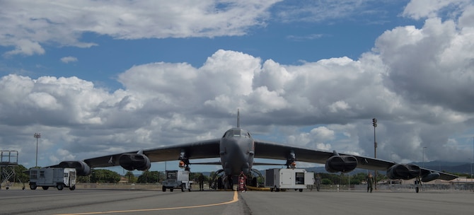 A B-52 Stratofortress, assigned to the 49th Test and Evaluation Squadron from Barksdale Air Force Base, La., prepares for an operational demonstration of the Quickstrike-ER (QS-ER) Naval  mine project at the Pacific Missile Range Facility at Joint Base Pearl Harbor-Hickam, Hawaii, May 28, 219.  The QS-ER project was initiated by U.S. Indo-Pacific Command as part of ongoing efforts to modernize and enhance military readiness throughout the joint forces in the Indo-Pacific region. (U.S. Air Force photo by Tech. Sgt. Heather Redman)