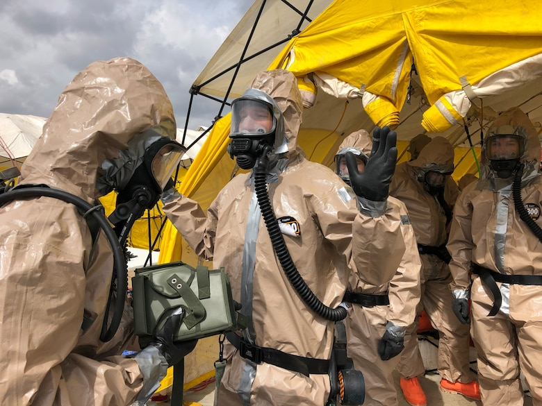 Members of the Utah National Guard provide assistance following a nuclear fallout scenario exercise at Camp Williams in Bluffdale to showcase the Homeland Response Force's capabilities on Saturday, March 23, 2019. The training involved drills on on responding to a 10-kiloton nuclear blast and included rescue, extraction, decontamination and medical attention.
